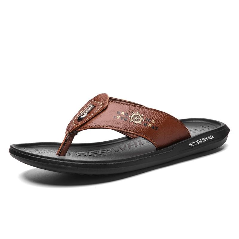 Classic Men Sandals Genuine Leather Summer Flat Slippers Wear-resistant Beach Sandals Flip Flops Lightweight Non-slip Rubber