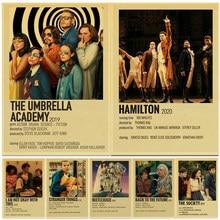 Cartaz do filme do vintage o guarda-chuva academia/hamilton/hamilton retro kraft papel cartaz para sala de estar barra decoração adesivos de parede