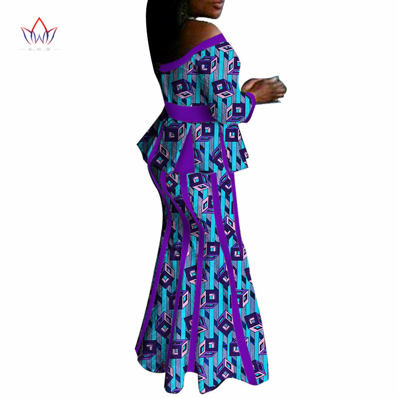 African Elegant Skirt Sets For Women Spring Traditional African 2 Piece Set Plus Size Top skirts African Clothing WY1412