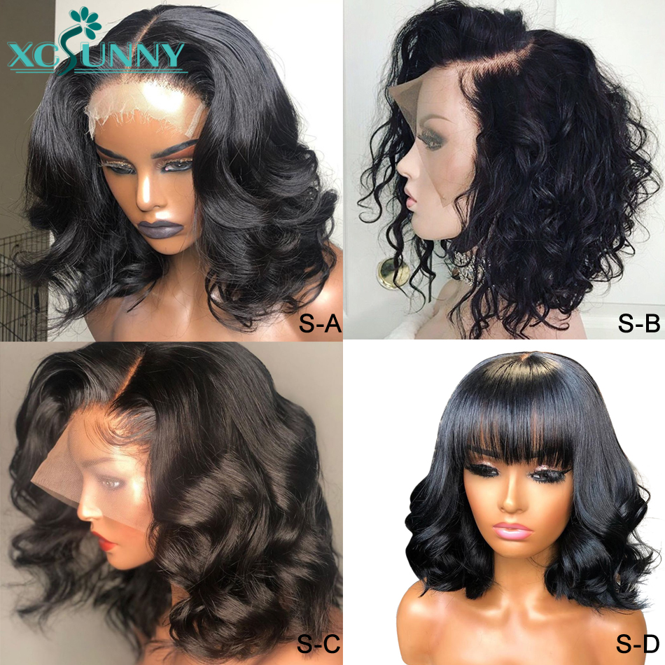 13X6 Loose Deep Wave Short Bob Lace Front Human Hair Wigs 4 Styles Remy Brazilian Water Wave Frontal Wig Pre Plucked Xcsunny