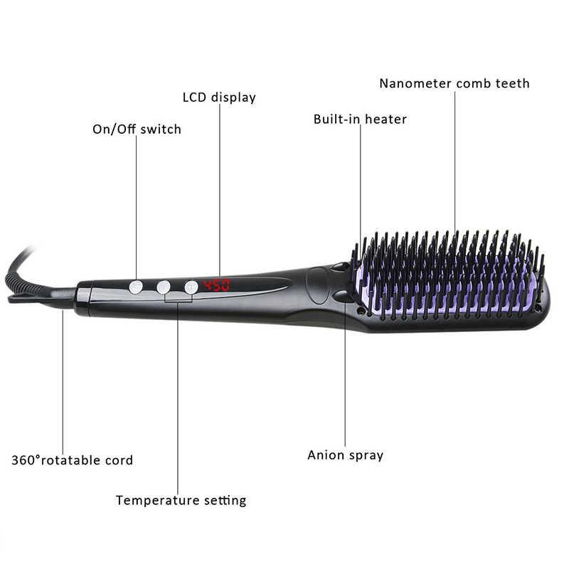 שיער מחליק קומבס חשמלי סטיילינג יונית זקן מיישר שטוח איירונס דיגיטלי בקרת חימום מברשות, עבור חג המולד מתנה