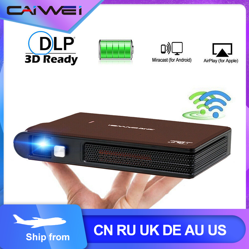 Caiwei S6W Portable Pocket Mini 3D DLP Projector LED Home Cinema Support HD Video WIFI Mobile Beamer For Smartphone Projectors(China)