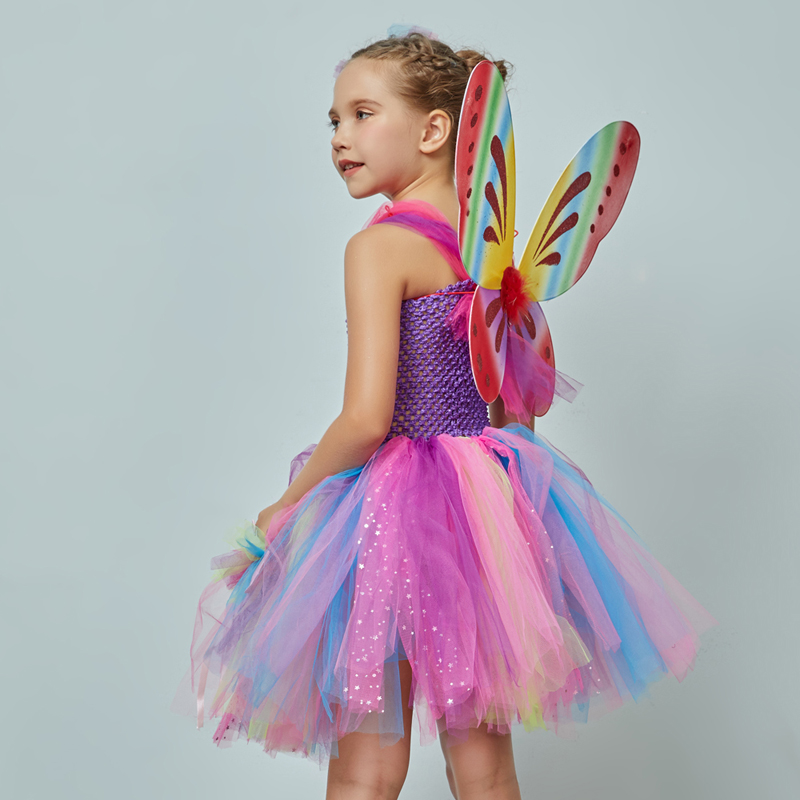 Girls Butterfly Fairy Fancy Tutu Dress Wings Costume Kids Princess Birthday Party Dress Halloween Cosplay Kids Spring Tulle Dress (6)