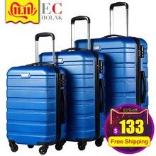 Комплект из 3 предметов, семейный костюм, багаж на колёсиках с замком, Спиннер, легкий, высокопрочный, для переноски, чемодан, деловой багаж