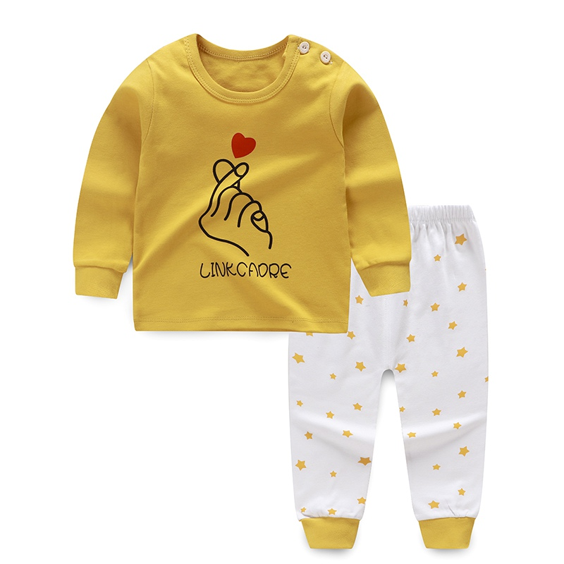 Autumn Baby Girls Boys Clothes Cartoon Print Sleepwear Sets Kids Long Sleeve Blouse Tops+Pants Pajamas Clothes 0-6Y