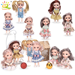 6pcs 5.9inch Fashion Doll bjd Boneca Dolls normal/joint body Ball Jointed Reborn Clothes Shoes Make Up Dolls Toys Gift For Girls