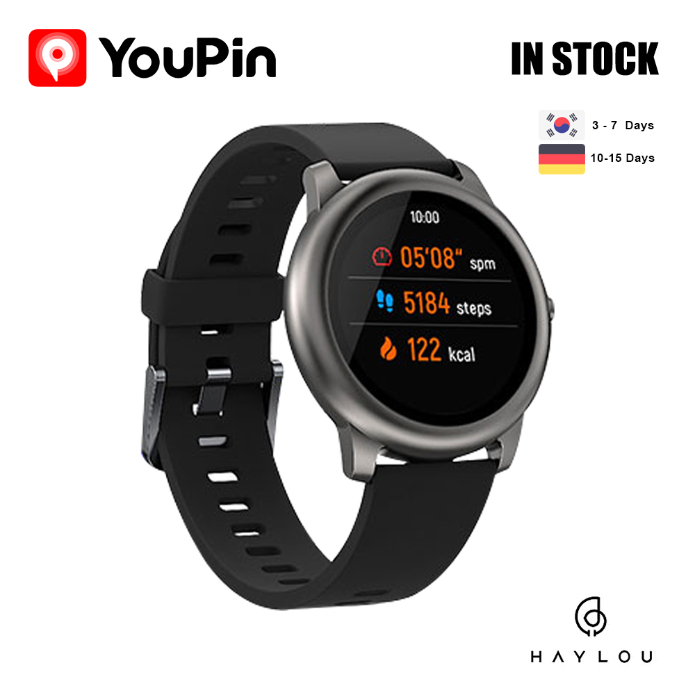 YouPin LS05 Solar Smart Watch Sport Metal Round Case Heart Rate Sleep Monitor Haylou IP68 Waterproof 30 Day Battery IOS Android