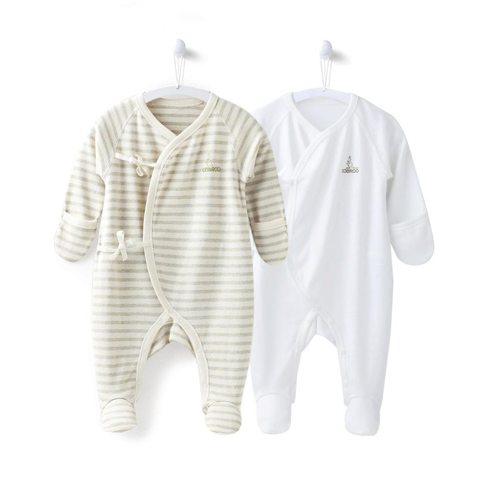 COBROO 2-Pack Baby Boy Footed Sleeper With Mittens 100% Cotton Striped&White Baby Boy Pajamas Set 0-3 Months
