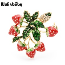 Wuli&baby Red Enamel Strawberry Tree Brooches Women Alloy Fruits Weddings Banquet Brooch Pins New Year Gifts