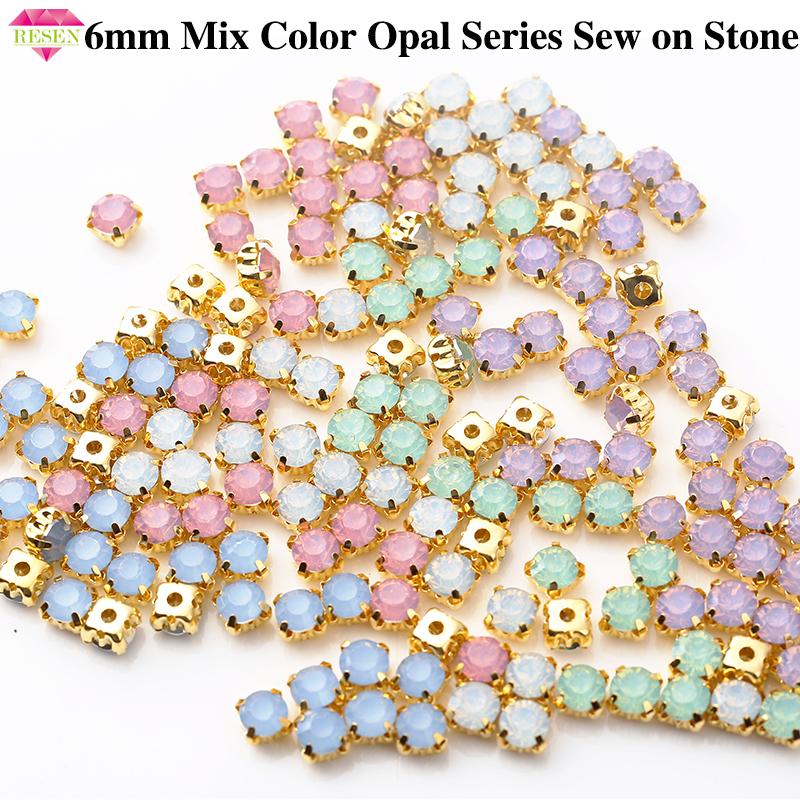 RESEN 6mm Mix Fancy Opal Colors Resin Sew On Rhinestones With Gold Claw Pink/Blue/Green/White Opal Sewing Rhinestones DIY Dress