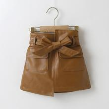 Girls PU leather skirts children's clothing girls short skirts PU leather skirts suitable for 3-7 years old