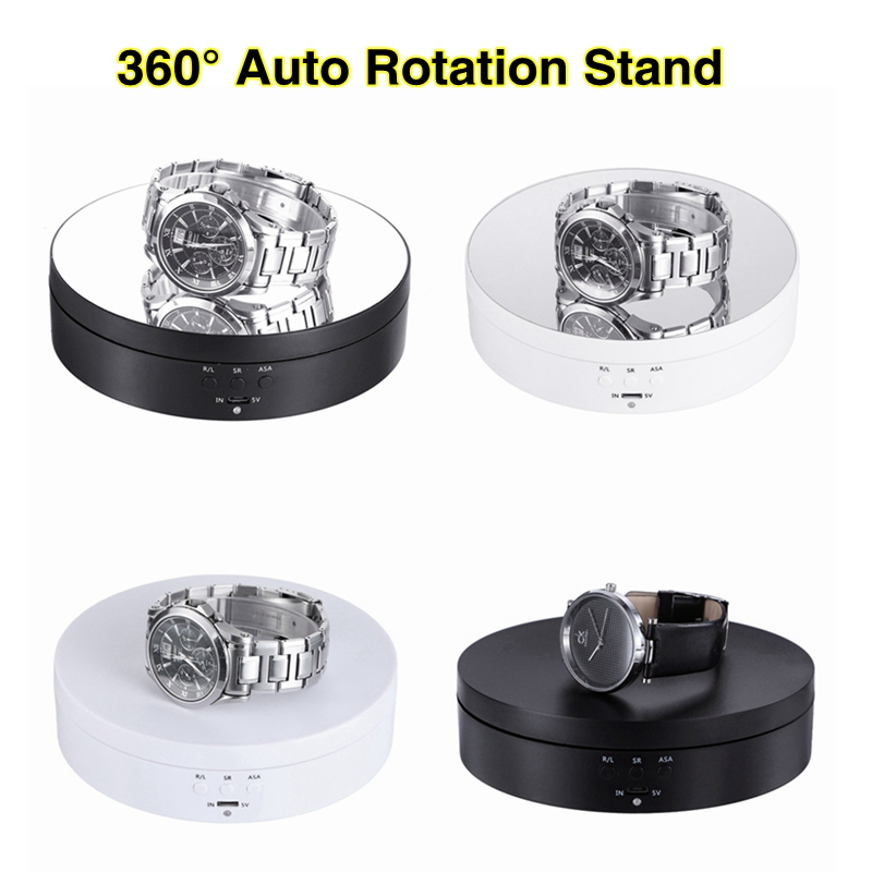 Photography 360 Degree Round Auto Rotating Remote Automatically Turntable Jewelry Display Stand Base for Photo Studio Shooting