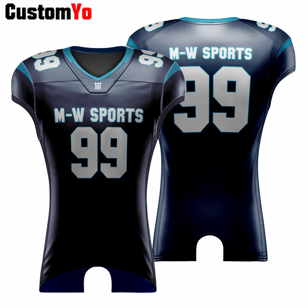 Youth Custom Sublimated/Cut American Football Jersey Men's College Training Practice Breathable Sports Football Jerseys image