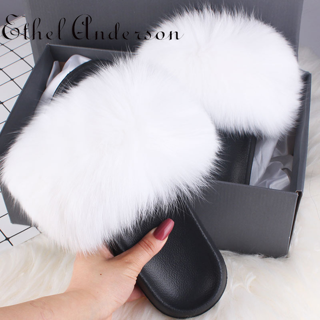 Ethel Anderson Real Fox Fur Slippers//Slides Fluffy Sandals Trendy Flat Shoes