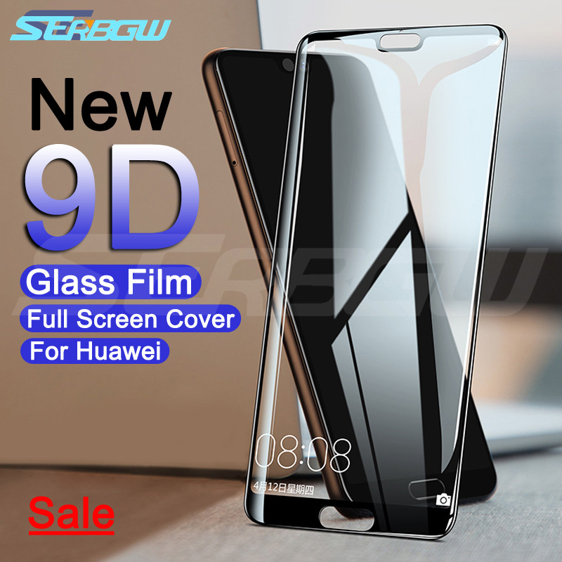 9D Full Cover Protective Glass On The For Huawei P20 Pro P10 P9 Lite Plus P Smart 2019 Tempered Screen Protector Glass Film Case