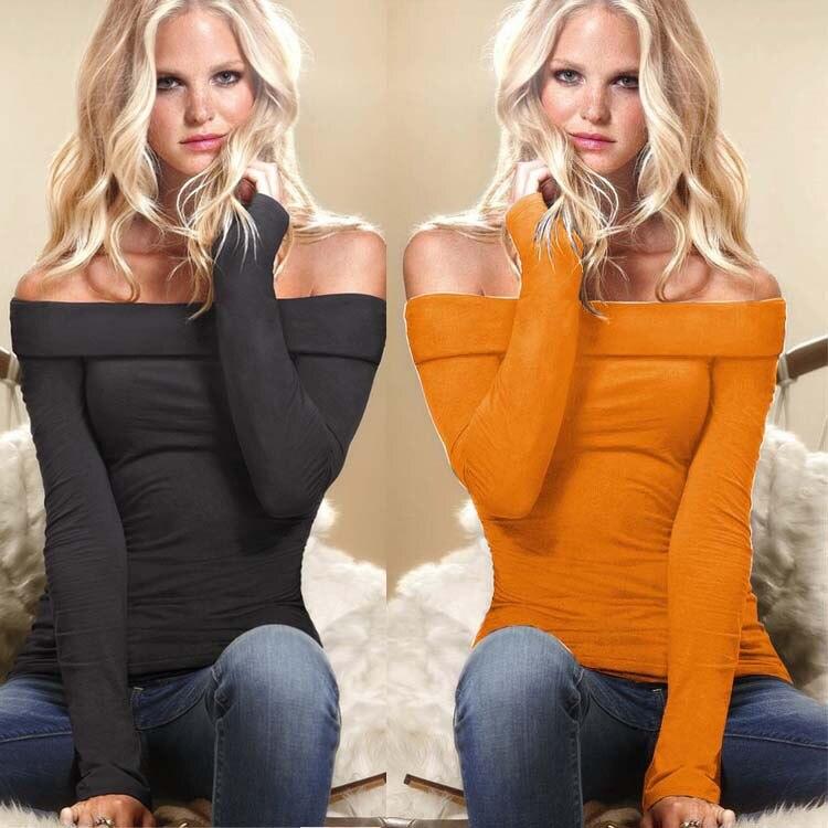 Madam clothing OWLPRINCESS2016 Autumn New Style Horizontal Neck off-Shoulder Slim Fit Base Shirt T-shirt