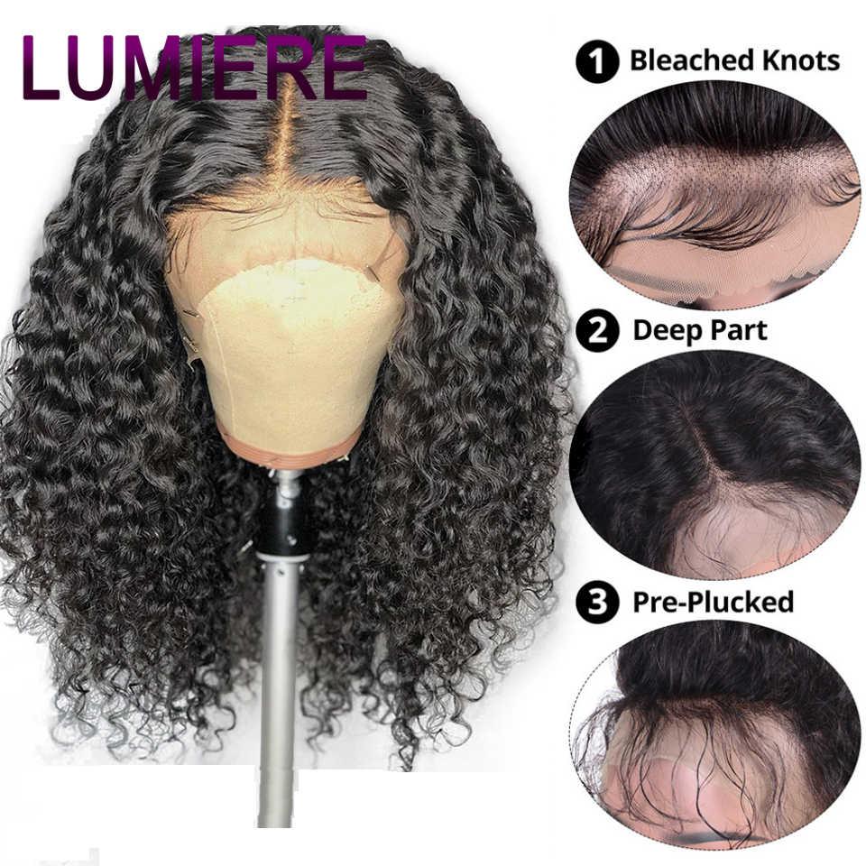 Peluca rizada del pelo de Lumiere pelucas de Bob corto no Remy peluca frontal del pelo humano para las mujeres negras Pre desplumadas con el pelo del bebé 150%