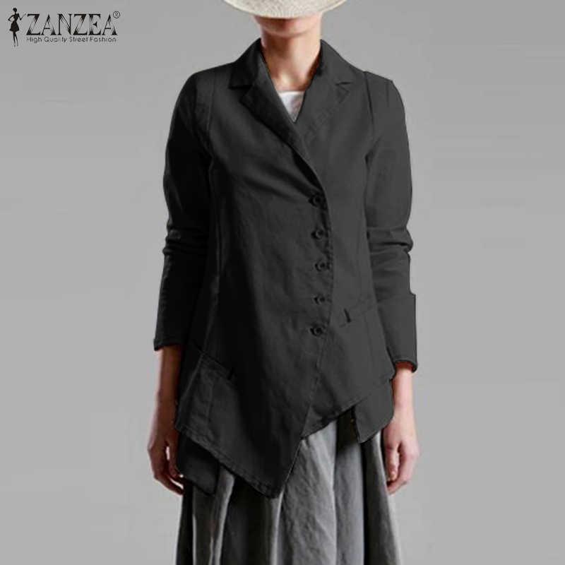 2020 Lente Blazers Zanzea Oversized Vrouwen Asymmetrische Blazer Elegante Enkele Breasted Pakken Kantoor Werk Uitloper Vintage Jassen 7