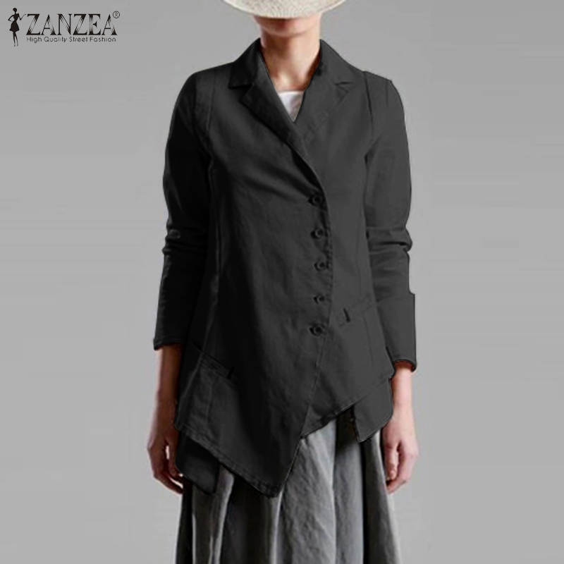 2020 Spring Blazers ZANZEA Oversized Women Asymmetric Blazer Elegant Single Breasted Suits Office Work Outwear Vintage Coats 7