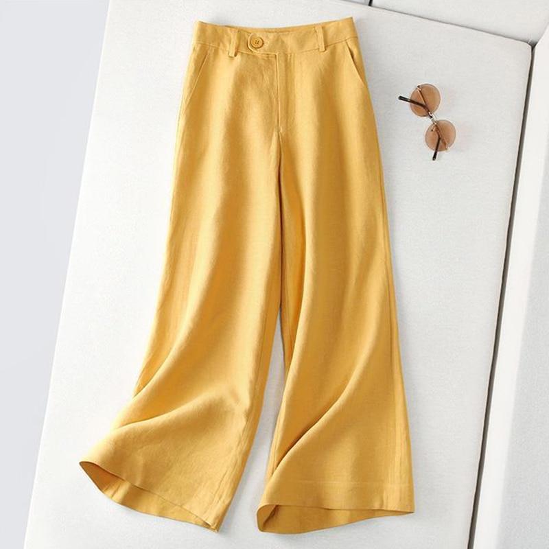 2020 sommer Neue Kunst Stil Hohe Taille Lose Hosen Frauen alle-abgestimmt Casual Baumwolle Leinen Breite Bein Hosen Plus größe Hosen S859