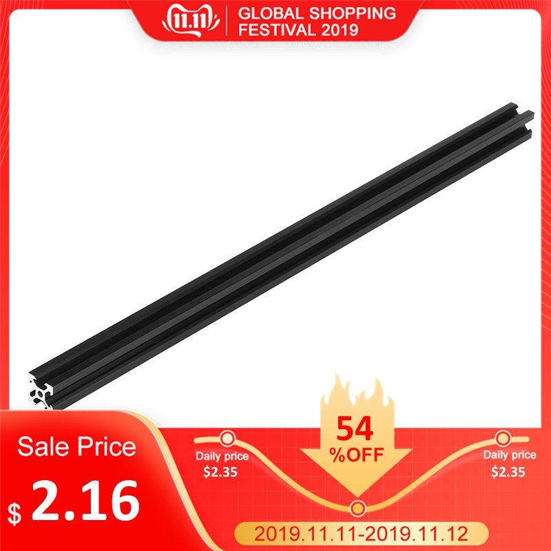 Black 100-<font><b>1000mm</b></font> <font><b>2020</b></font> V-Slot Aluminum <font><b>Profile</b></font> Extrusion Frame for CNC Laser Engraving Machine 3D Printer Camera Slider Furniture image