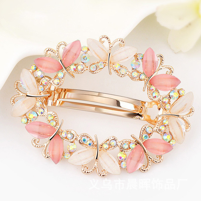 Elegant Women Crystal Flower Butterfly Barrette Star Hair Clip Clamp Hairpin