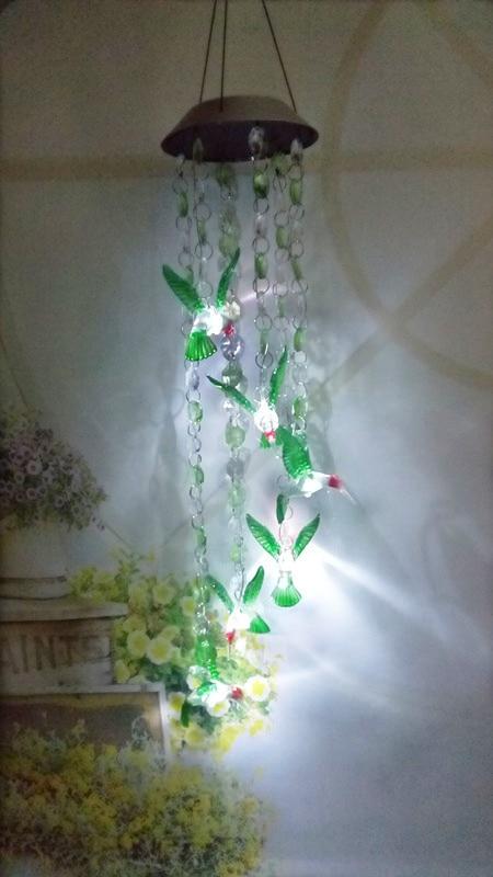 Solar Wind Chime Solar Lamp Solar Color Changing Wind Chime Beads Hummingbird LED Light Solar Garden Lamp