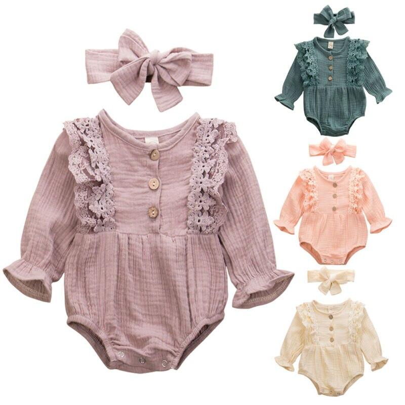 Newborn Infant Baby Girls Clothes Solid Ruffle Long Sleeve Romper Soft Jumpsuit Bodysuit Outfit Sunsuit Headbands Set 0-24M