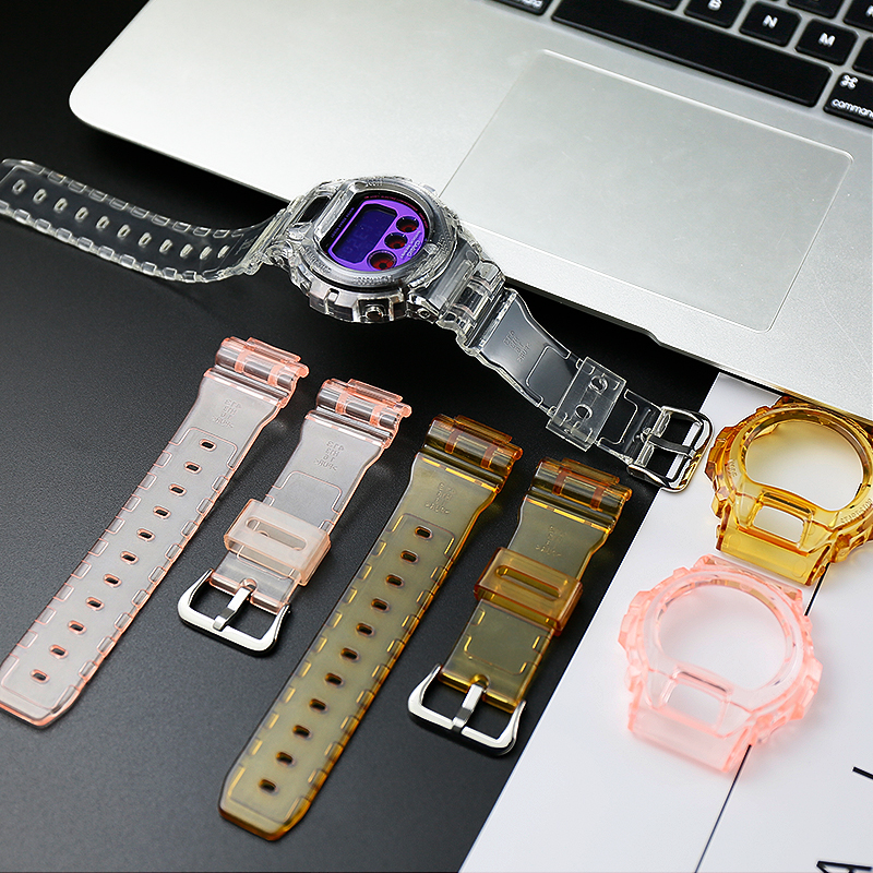 Transparent Resin <font><b>Strap</b></font> Pin Buckle Applicable for caiso <font><b>g</b></font> <font><b>shock</b></font> DW6900 <font><b>watch</b></font> <font><b>strap</b></font> replacement men's <font><b>watch</b></font> band Accessories,16mm image