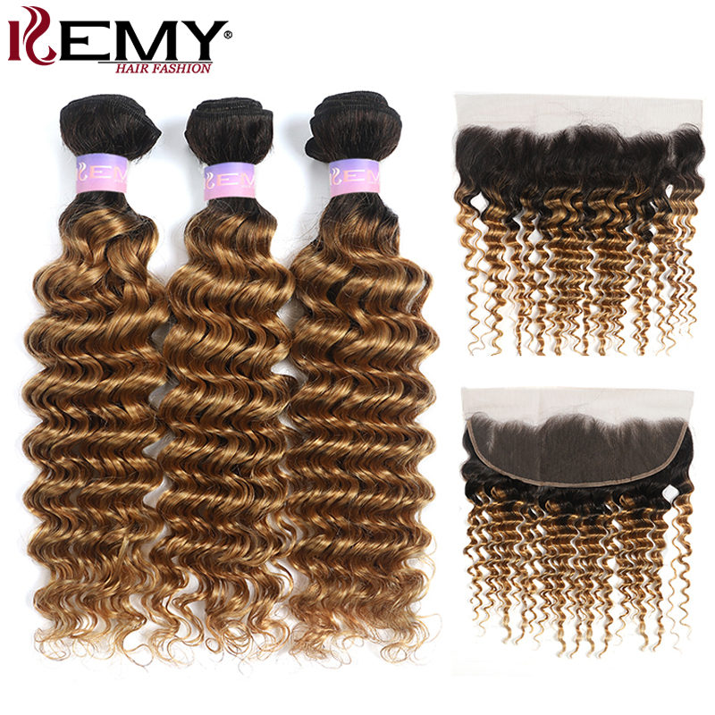Deep Wave Human Hair Bundles With Frontal 13x4 KEMY T1B/27 Brazilian Two Tone Ombre Hair Weave Bundles With Closure Non-Remy