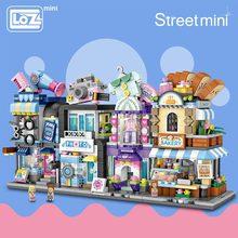 LOZ Mini Block Barber Bakery Photo Clothing Shop Architecture Model Building Blocks City Series Mini Street Store Children Brick