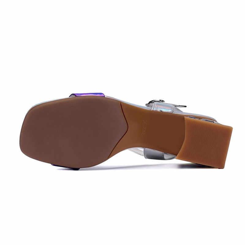 Roma tarzı kalın topuk deri sandalet kadın 2020 yaz burnu açık kadın ayakkabısı toka orta topuk moda kadın sandalet