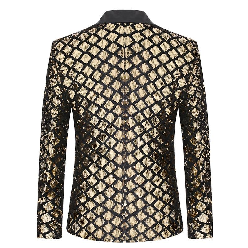 Image 2 - Блестящая блестящая куртка на одной пуговице, Мужской Блейзер, золотистый клетчатый смокинг в стиле пэчворк, мужской блейзер для ночного клуба, свадебной вечеринки, сценические костюмыПовседневные пиджаки   -