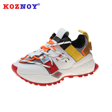 Koznoy Sneakers Dropshipping Women Casual Thick Muffin Bottom Breathable Fashion Lace Soft Cross Tied Mixed Colors Woman Shoes