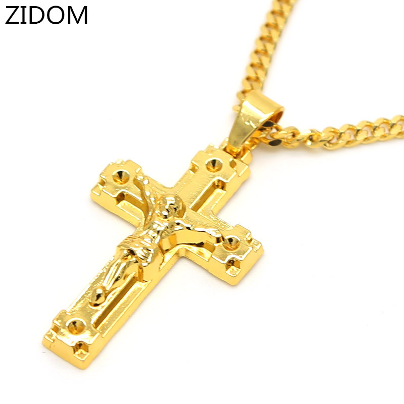 Gold Color Jesus Cross Pendants High Quality Fashion Hiphop Franco Long Necklaces Gold Chain For Men Bijouterie 6 Design Gold Chain For Men Gold Chainchain For Men Aliexpress