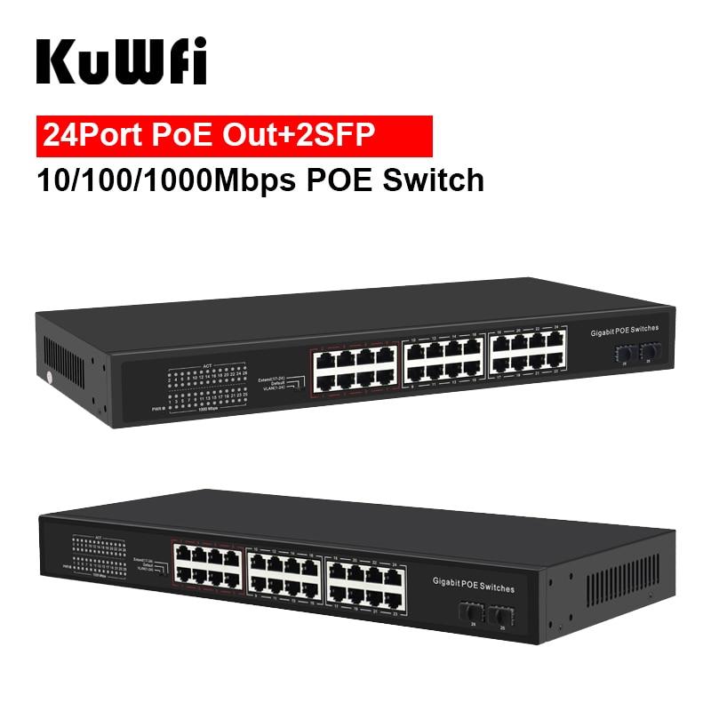 KuWFi Gigabit POE Switch 4/8/16/24 POE Ports 10/100/1000Mbps IEEE802.3AF/AT Standard RJ45 Hub Switcher Extend Transmission 250M