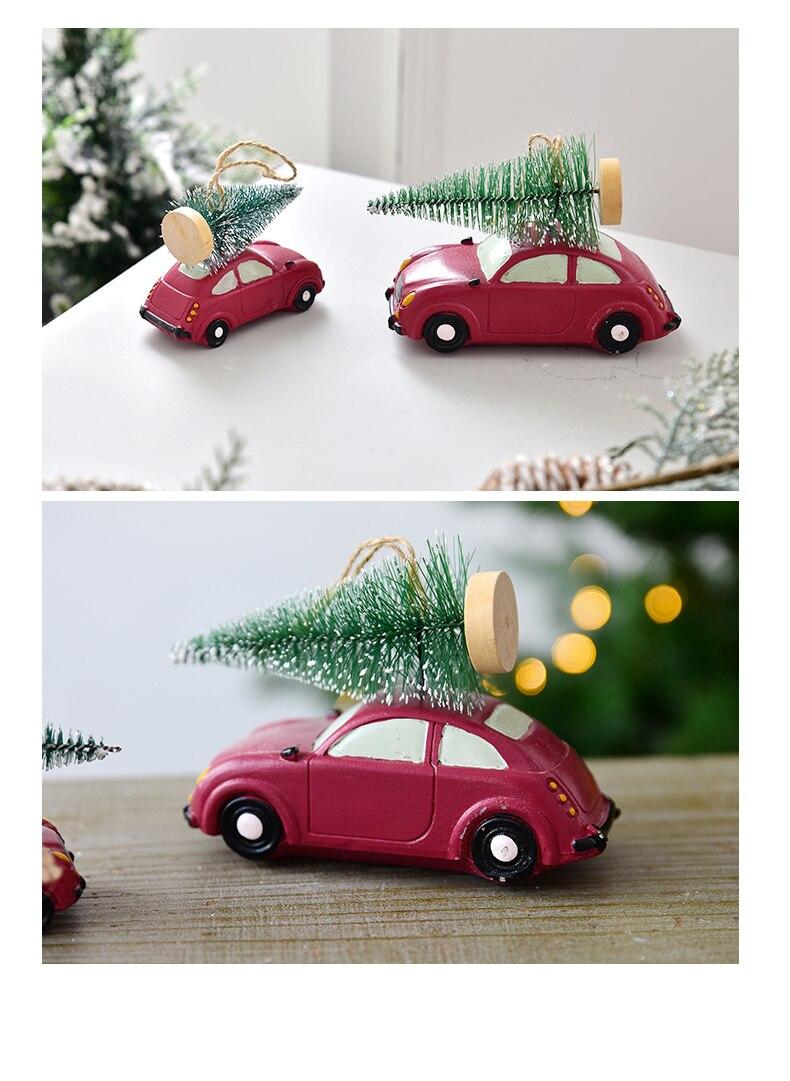 Resin American Mini Car Pull Christmas Tree Desktop Small Ornaments Christmas Decorations Pendant Xmax Ornament QW248 (8)
