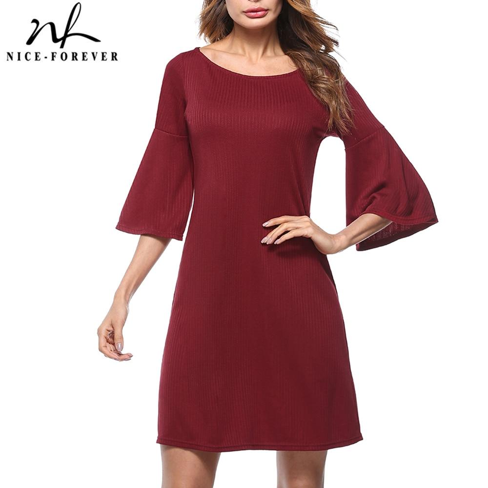 Женское Повседневное платье Nice forever, однотонное свободное прямое платье с расклешенными рукавами, T017|Платья|   | АлиЭкспресс