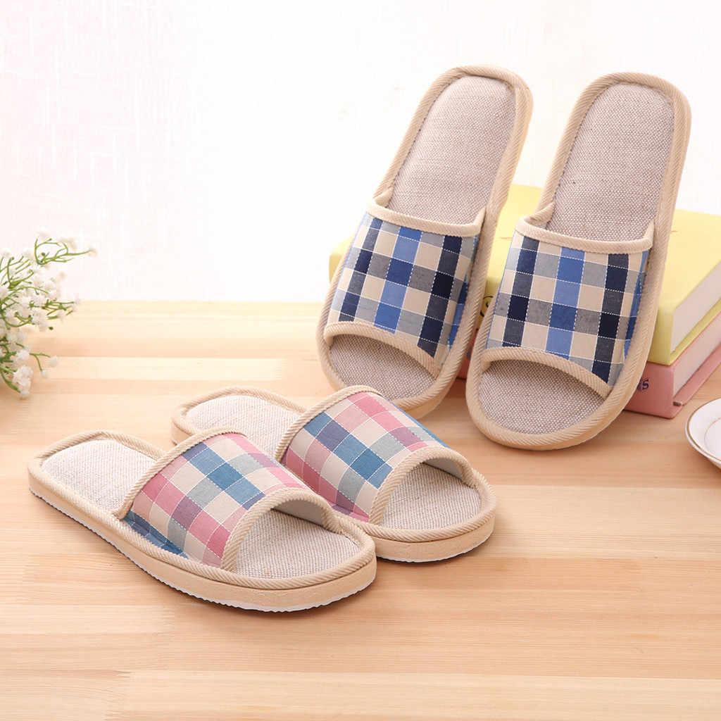 Zapatillas pantuflas de Interior para el hogar moda Casual parejas Plaid casa zapatillas piso interior pisos Alpargatas Zapatos @ py