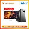Компьютеры Funhouse, игровая карта AMD R3 1200 RX550 4G 8G DDR4 память 120G SSD, Домашний Настольный ПК в сборе, полный комплект с 24-дюймовым монитором 1