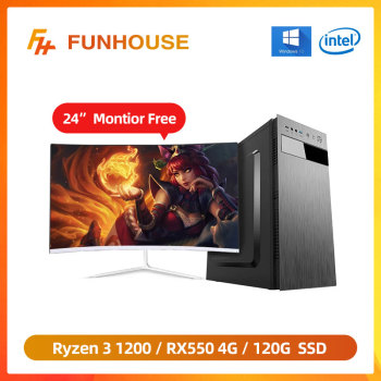 Funhouse Computers AMD R3 1200 RX550 4G Gaming Card 8G DDR4 Memory 120G SSD Home Desktop PC Assembly Whole Set with 24'Monitor