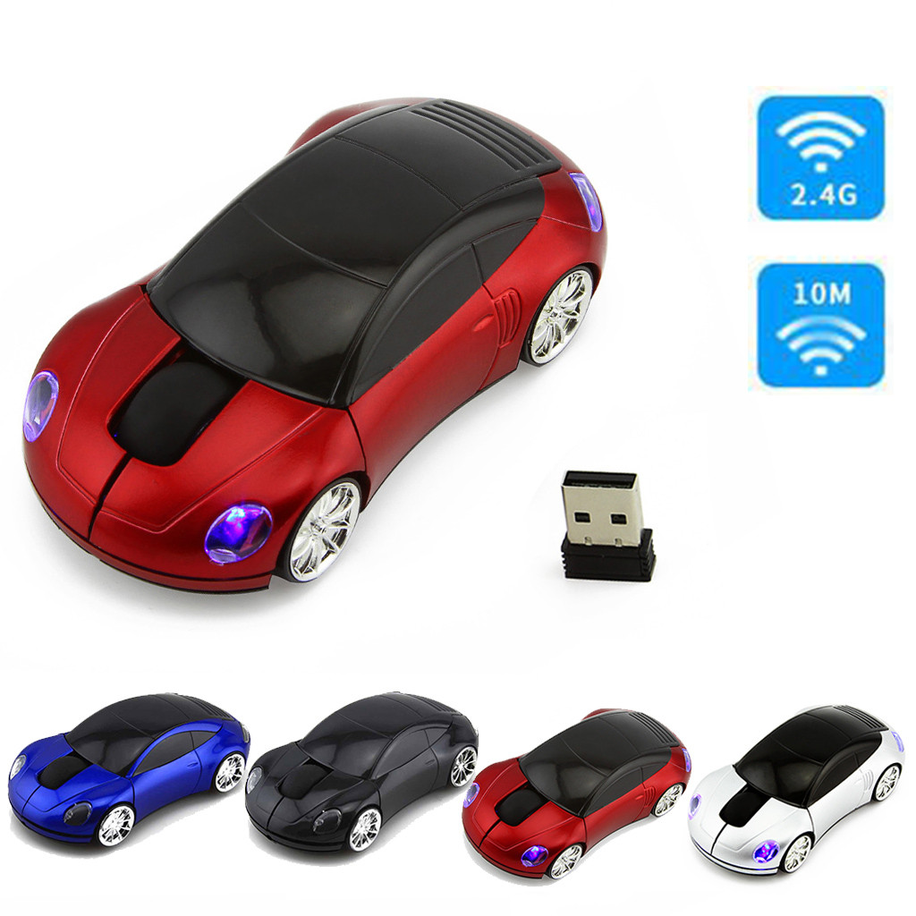 2.4GHz Ergonomic Mice For Laptop PC 1600DPI Wireless Optical Mouse USB Rolling Car Model Mouse For Tablet PC Computer Mouse