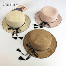 2019 New Fashion Summer Hat bow For Women Ladies Wide Brim Beach Sun Belt Straw Floppy Bohemia Cap