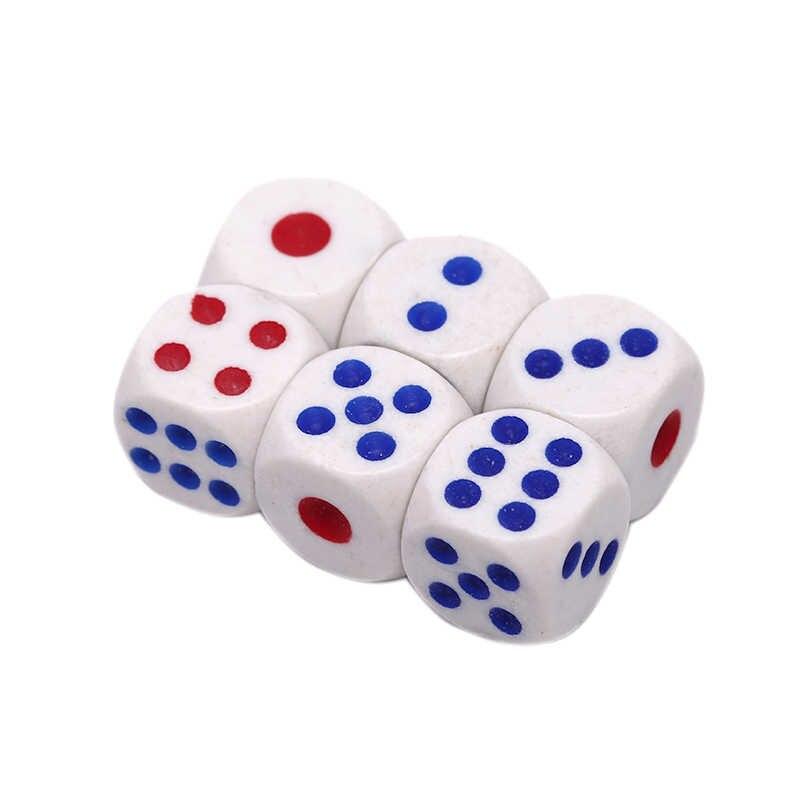 10mm dados de beber acrílico blanco esquina redonda hexahedro dados Club mesa de fiesta juegos RPG juego de dados 6 unids/lote