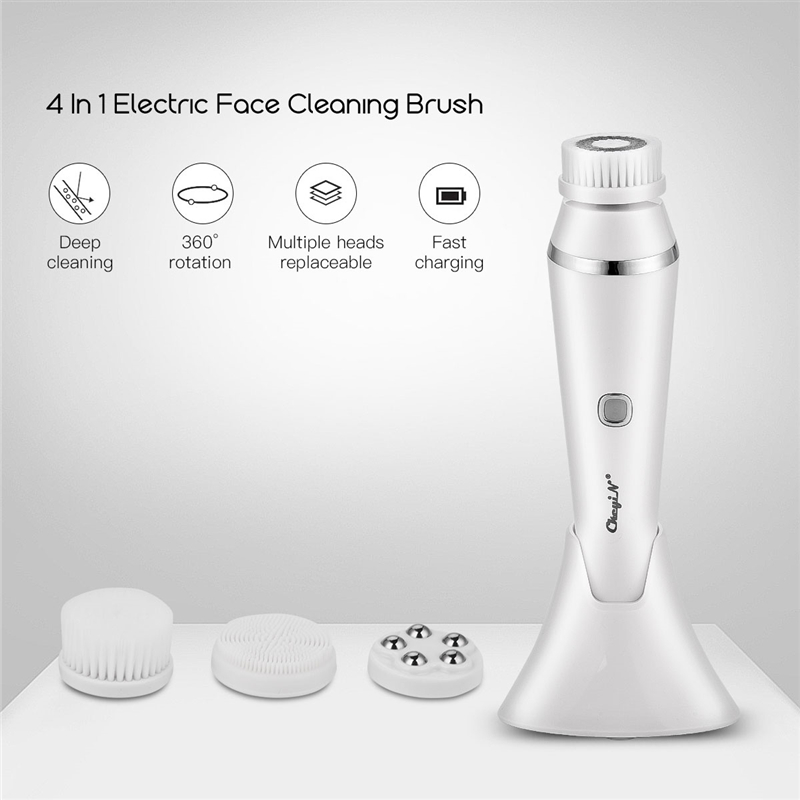 4 In 1 Face Cleansing Brush USB Rechargeable Facial Cleanser Pore Cleaner Exfoliator Face Washing Brush Skin Roller Massager