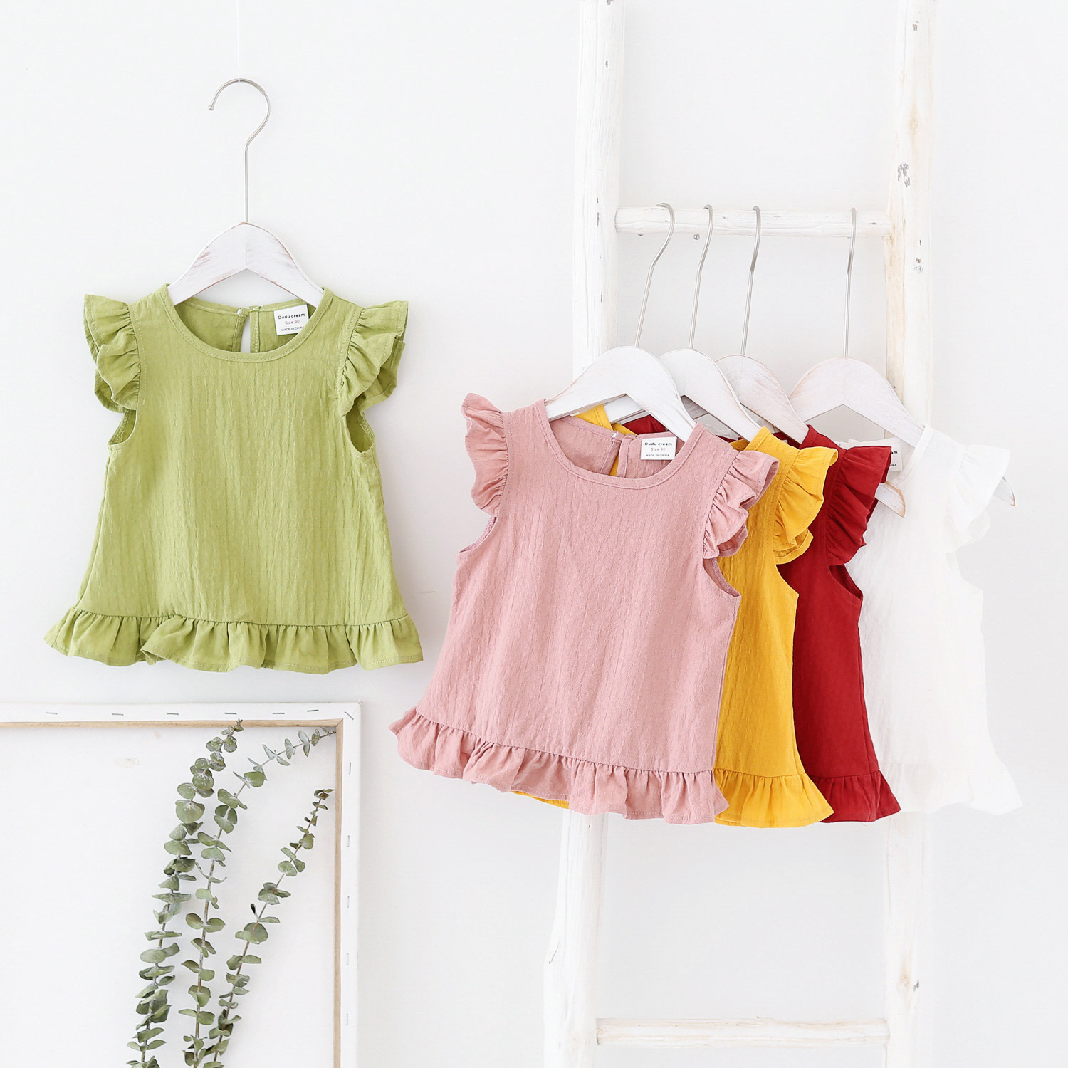 2020 Children Shirts Summer Girls Blouse Shirt Lotus Leaf Sleeveless Tops For Kids Candy Color Toddler Outerwear Baby Tees