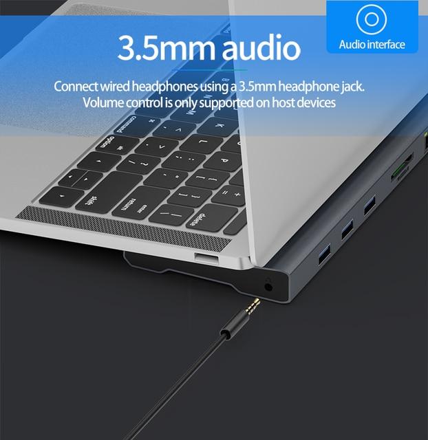 2020 11 en 1 TypeC convertisseur Station daccueil prise en charge HDMI VGA LAN Multiport USB3.0 PD adaptateur de téléphone pour ordinateur portable Huawei Samsung