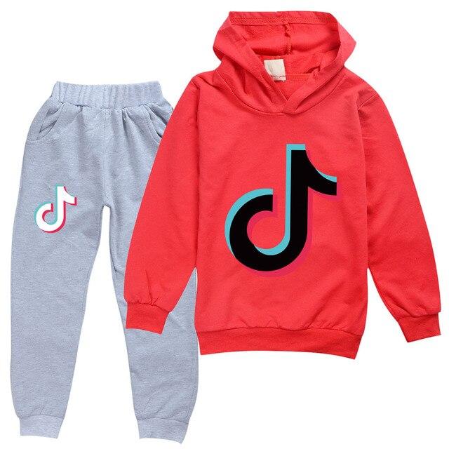 2PCS Boys Girls Tik Tok Spring SweatShirt Hoodies Tops Pants Suit Birthday Gift