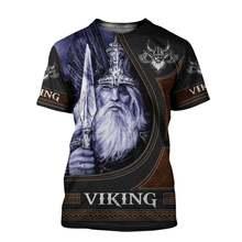 Летняя мода Викинг один Мужская и женская футболка Ворон тату