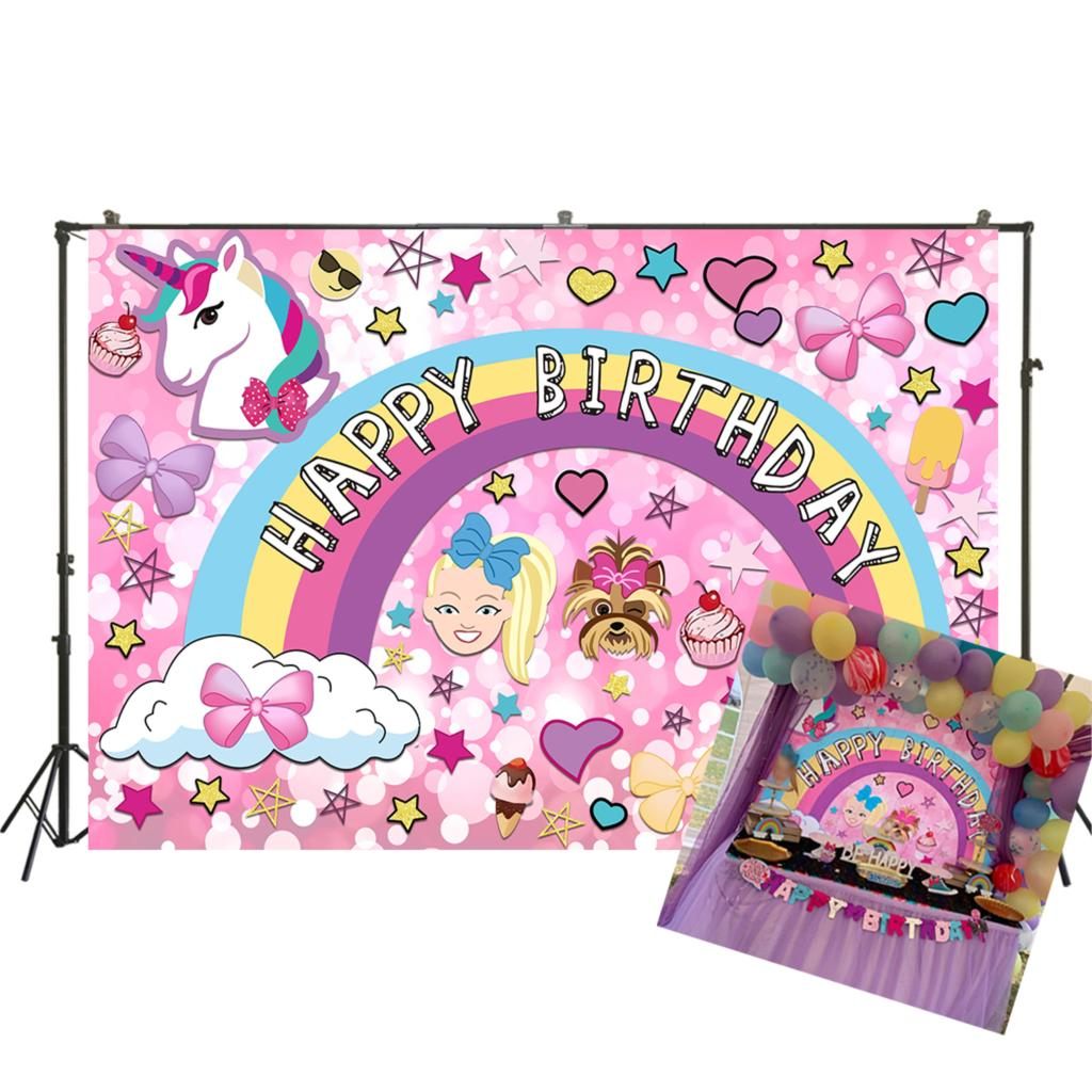 Photography Background JoJo Siwa Party Supplies Birthday Party Banner Unicorn Puppy Girl Glitter Rainbow Baby Shower W-3337 image